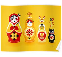 Russian Nesting Dolls – Yellow & Red Poster