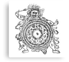 TamDin Buddhist Protective Charm Black on White Canvas Print