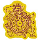 TamDin Buddhist Protective Charm purple on gold by Hedrin