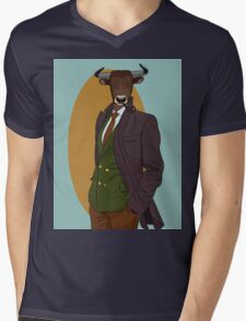 Retro Bull man. Vector hipster illustration. Antropomorphic print Mens V-Neck T-Shirt