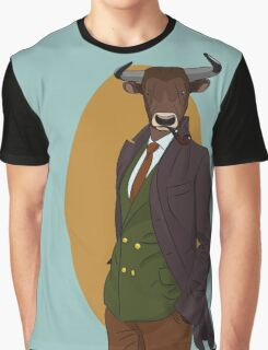 Retro Bull man. Vector hipster illustration. Antropomorphic print Graphic T-Shirt