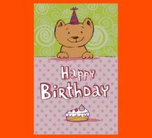 Happy birthday cat design card Kids Tee