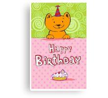 Happy birthday cat design card Canvas Print