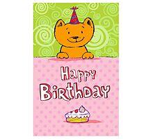 Happy birthday cat design card Photographic Print