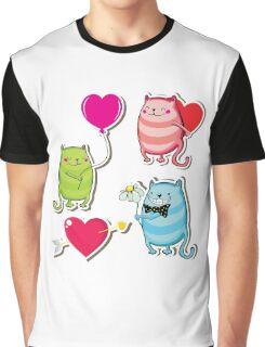 Cartoon cat valentine illustrator Graphic T-Shirt