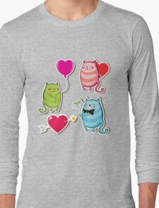 Cartoon cat valentine illustrator Long Sleeve T-Shirt