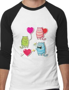 Cartoon cat valentine illustrator Men's Baseball ¾ T-Shirt