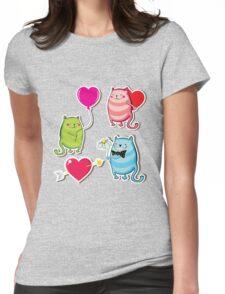 Cartoon cat valentine illustrator Womens Fitted T-Shirt