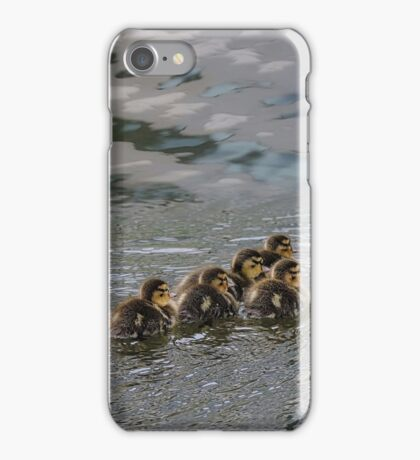 Ducklings Following Mom Duck iPhone Case/Skin