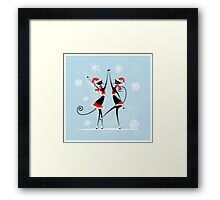 Amusing Christmas cats graphics Framed Print