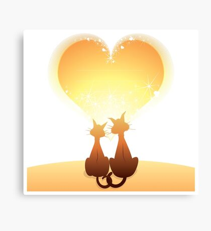 Cat love valentine Canvas Print
