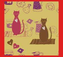 Cat love background pattern cute One Piece - Short Sleeve