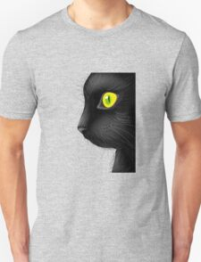 Black cat face with bright eye Unisex T-Shirt