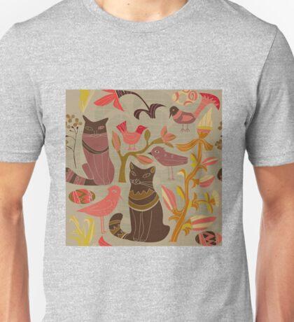 Cartoon decorative style birds cats Unisex T-Shirt