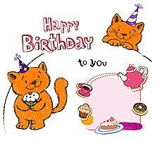 Cute cat birthday cards creative Photographic Print
