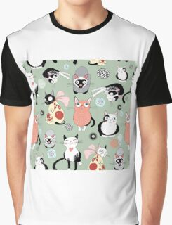 Naughty cat pattern Graphic T-Shirt