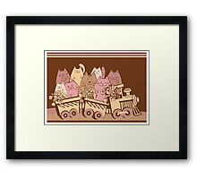 Amusing cartoon toy train cats design Framed Print