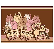 Amusing cartoon toy train cats design Photographic Print