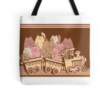 Amusing cartoon toy train cats design Tote Bag