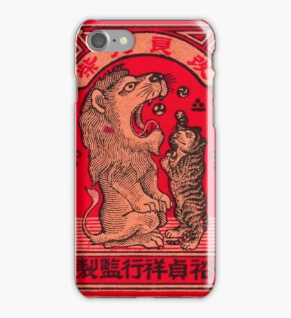 Lion and Kitten - Chinese Match Box Art iPhone Case/Skin