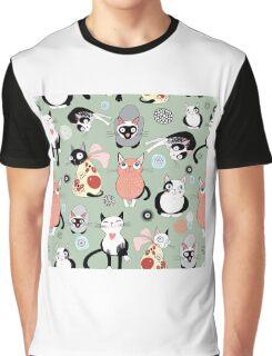 Funny cartoon cat design pattern Graphic T-Shirt