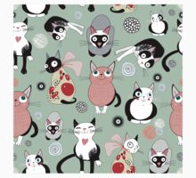 Funny cartoon cat design pattern One Piece - Short Sleeve
