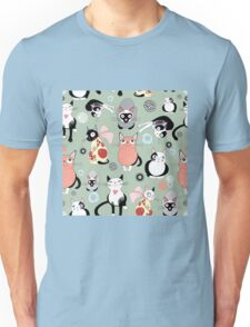 Funny cartoon cat design pattern Unisex T-Shirt