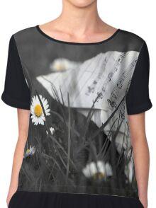 Sheet Music and Flowers Chiffon Top