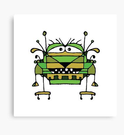 Funny Robot Cartoon Canvas Print