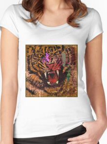 Hand draw tiger face Women's Fitted Scoop T-Shirt