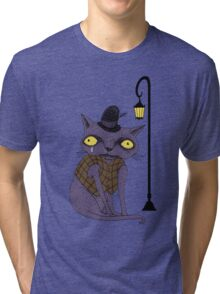 Sad Cat with Moonlight Memories Tri-blend T-Shirt