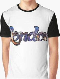 LONDON ENGLAND UNITED KINGDOM GREAT BRITAIN PANORAMIC TYPOGRAPHY Graphic T-Shirt