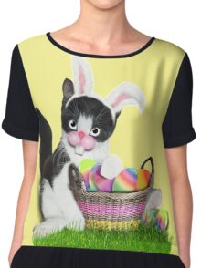 Cute Easter Kitty Chiffon Top