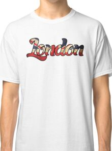 LONDON ENGLAND UNITED KINGDOM FLAG GREAT BRITAIN PANORAMIC TYPOGRAPHY Classic T-Shirt