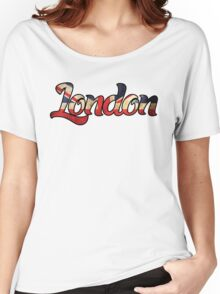 LONDON ENGLAND UNITED KINGDOM FLAG GREAT BRITAIN PANORAMIC TYPOGRAPHY Women's Relaxed Fit T-Shirt