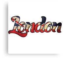 LONDON ENGLAND UNITED KINGDOM FLAG GREAT BRITAIN PANORAMIC TYPOGRAPHY Canvas Print