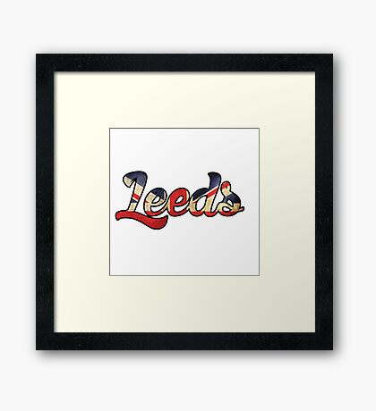 LEEDS ENGLAND UNTIED KINGDOM FLAG GREAT BRITAIN PANORAMIC TYPOGRAPHY Framed Print
