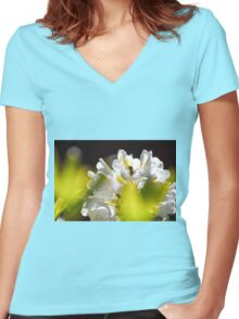 Little Flower Bee! Women's Fitted V-Neck T-Shirt