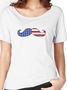 Patriotic Funny Mustache  Women's Relaxed Fit T-Shirt