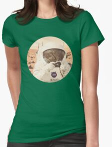 Astronaut Cat on Mars Womens Fitted T-Shirt