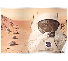 Astronaut Cat on Mars Poster