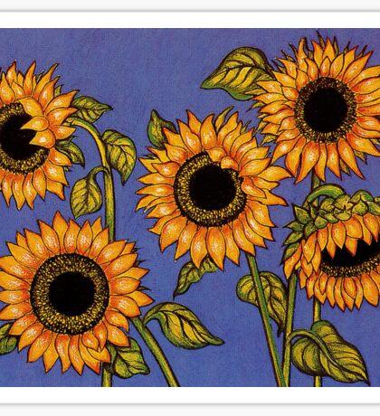 Black Centred Sunflowers Sticker
