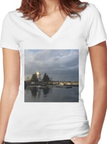 Lighthouse Sunburst - A perfectly Aimed Sunray on a Gray Morning Women's Fitted V-Neck T-Shirt