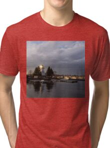 Lighthouse Sunburst - A perfectly Aimed Sunray on a Gray Morning Tri-blend T-Shirt
