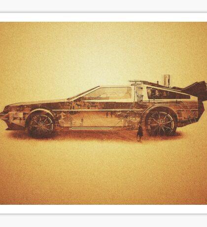 Lost in the Wild Wild West! (Golden Delorean Doubleexposure Art) Sticker