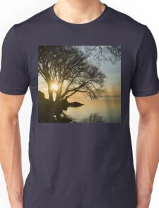 Golden Tranquility - Lacy Tree Silhouettes on the Lake Shore Unisex T-Shirt