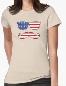 Patriotic Funny Face Womens Fitted T-Shirt