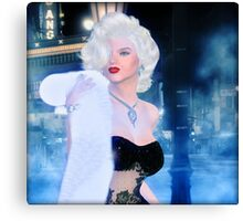 Marilyn in the city at night Canvas Print