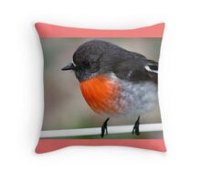 """""""Red Breasted Robin"""" Posing on Fence Wire Throw Pillow"""