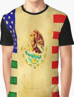 MEXICAN AMERICAN FLAG - 017 Graphic T-Shirt
